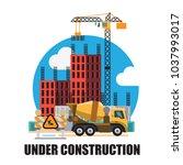 building under construction... | Shutterstock .eps vector #1037993017