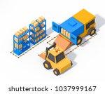 store warehouse loading dock...   Shutterstock . vector #1037999167