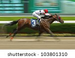 "ELMONT, NY - MAY 28: Jockey David Cohen and ""Eltheeb"" win a claiming race at Belmont Park on May 28, 2012 in Elmont, NY. - stock photo"