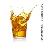 glass of splashing drink with... | Shutterstock . vector #1038014197