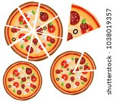 set of icons with pizza  whole...   Shutterstock .eps vector #1038019357