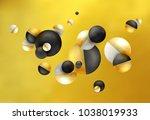 3d balls fly  chaotic fall.... | Shutterstock .eps vector #1038019933