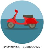 delivery motorbike in flat style | Shutterstock .eps vector #1038030427