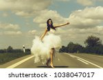 young wedding happy sexy girl... | Shutterstock . vector #1038047017
