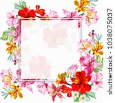 watercolor frame with exotic... | Shutterstock . vector #1038075037