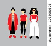 group of fashionable young... | Shutterstock .eps vector #1038080503