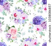 Stock vector seamless vector design pattern arranged from pink rose orchid violet carnation purple hydrangea 1038086857