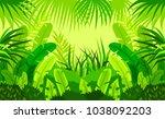 tropical forest.  child. design.... | Shutterstock .eps vector #1038092203