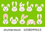 heads of rabbit with different... | Shutterstock .eps vector #1038099613