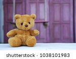 the lonely teddy bear sits in... | Shutterstock . vector #1038101983