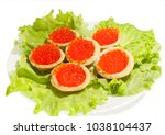 red caviar in tartlets on... | Shutterstock . vector #1038104437