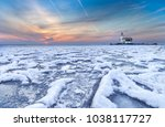 winter landscape at the... | Shutterstock . vector #1038117727