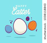 happy easter minimal background ... | Shutterstock .eps vector #1038118843