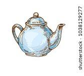 vintage porcelain teapot ink... | Shutterstock .eps vector #1038129277
