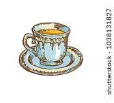 vintage porcalain cup with tea  ... | Shutterstock .eps vector #1038131827