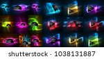 mega collection of neon... | Shutterstock .eps vector #1038131887