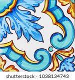 detail of the traditional tiles ... | Shutterstock . vector #1038134743