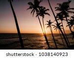 beautiful sunset on the sri... | Shutterstock . vector #1038140923