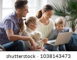 young family with adopted... | Shutterstock . vector #1038143473