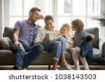 cheerful young family with kids ... | Shutterstock . vector #1038143503