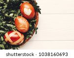 stylish easter eggs on green... | Shutterstock . vector #1038160693