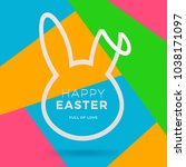 easter greeting card. cut from... | Shutterstock .eps vector #1038171097
