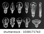 vector set with hand drawn... | Shutterstock .eps vector #1038171763