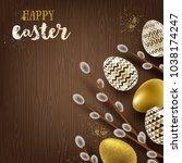 easter illustration. pussy...   Shutterstock .eps vector #1038174247