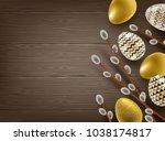 easter illustration. pussy... | Shutterstock .eps vector #1038174817