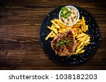 grilled steak with french fries ... | Shutterstock . vector #1038182203