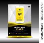 mobile apps flyer template.... | Shutterstock .eps vector #1038183973