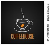 coffee cup vintage logo on dark ...   Shutterstock .eps vector #1038186313