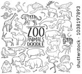 zoo animals traditional doodle...