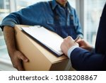 receiver signing delivery... | Shutterstock . vector #1038208867