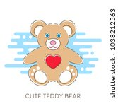 modern vector cute teddy bear... | Shutterstock .eps vector #1038212563