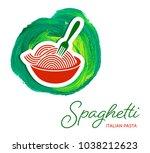 vector spaghetti pasta creative ... | Shutterstock .eps vector #1038212623