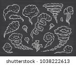 smoke clouds vector set. hand... | Shutterstock .eps vector #1038222613