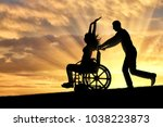 a disabled woman in a... | Shutterstock . vector #1038223873
