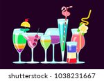 set of exotic alcoholic... | Shutterstock .eps vector #1038231667