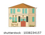 cartoon house isolated on white ... | Shutterstock .eps vector #1038234157
