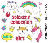 set of isolated stickers for... | Shutterstock .eps vector #1038249127