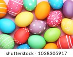colorful easter eggs on pink... | Shutterstock . vector #1038305917
