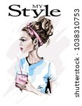 fashion woman with glass of... | Shutterstock .eps vector #1038310753