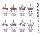 hand drawn unicorn face set.... | Shutterstock .eps vector #1038339547