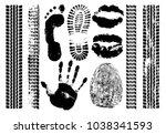 imprint set evidence. handprint ... | Shutterstock .eps vector #1038341593