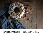 top view on the rustic country... | Shutterstock . vector #1038343417