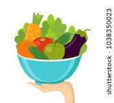 fresh fruit and vegetables.... | Shutterstock .eps vector #1038350023