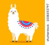 funny llama alpaca in a cartoon ... | Shutterstock .eps vector #1038353797