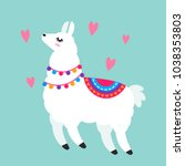 funny llama alpaca in a cartoon ... | Shutterstock .eps vector #1038353803