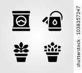 house plants vector icon set.... | Shutterstock .eps vector #1038357247